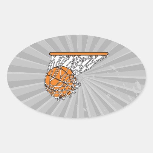bola del woosh del baloncesto en el ejemplo neto pegatina ovalada