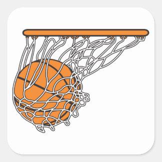 bola del woosh del baloncesto en el ejemplo neto pegatina cuadrada