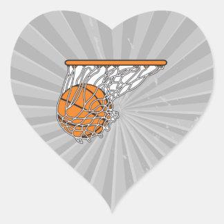 bola del woosh del baloncesto en el ejemplo neto pegatina en forma de corazón