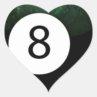 Bola diósida de la magia 8 pegatina en forma de corazón
