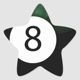 Bola diósida de la magia 8 pegatina en forma de estrella