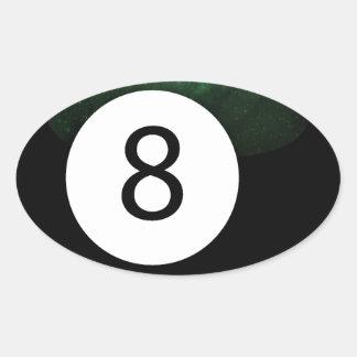 Bola diósida de la magia 8 pegatina ovalada