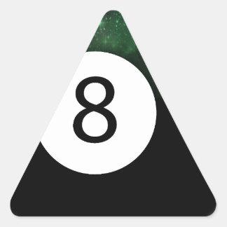 Bola diósida de la magia 8 pegatina triangular