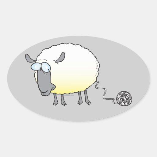 bola divertida del dibujo animado reproducido pegatina ovalada
