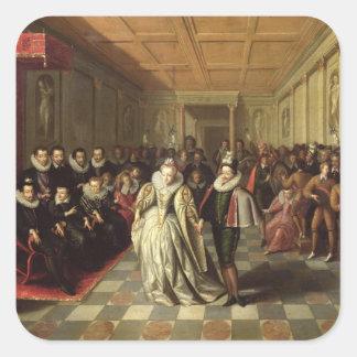 Bola en la corte de Enrique III Calcomanías Cuadradass