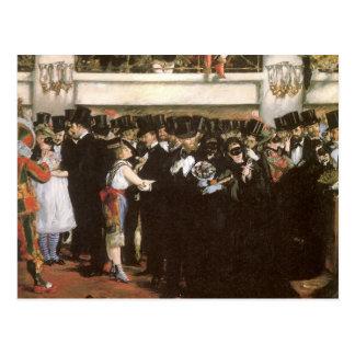 Bola enmascarada en la ópera, Manet, bella arte Postales