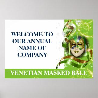 Bola enmascarada veneciana de la máscara de la póster