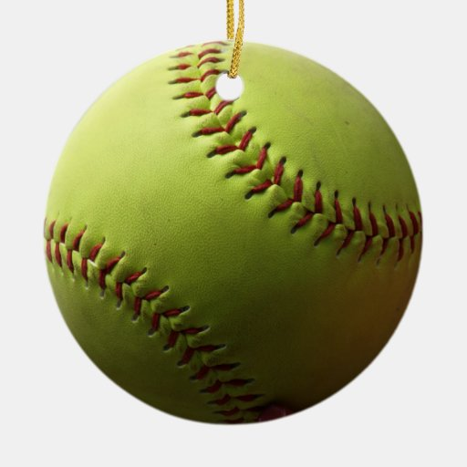 Bola entera del softball amarillo adorno navideño redondo de cerámica