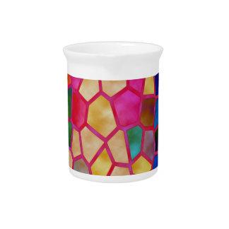 Bola grabada en relieve vitral jarra de beber