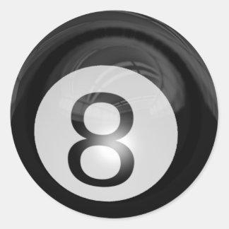 Bola grande 8 etiqueta redonda