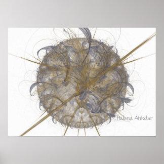 bola gris abstracta, Halima Ahkdar Póster