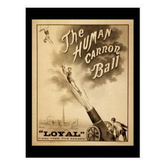 Bola humana de Canon del poster del circo del Postales