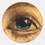 Bola impar espeluznante del ojo que le mira pegatina redonda
