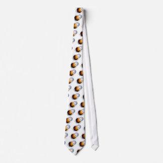 Bola llameante del béisbol que rasga un agujero en corbata personalizada