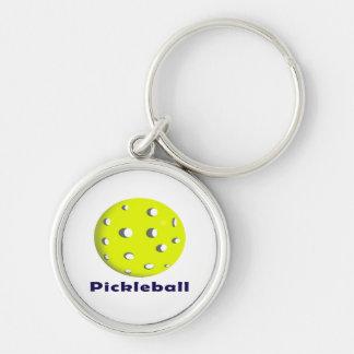 bola n text.png del pickleball apenas llavero redondo plateado