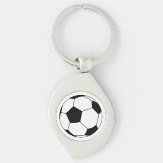 Bola negra/blanca del fútbol del fútbol en blanco llavero plateado en forma de espiral