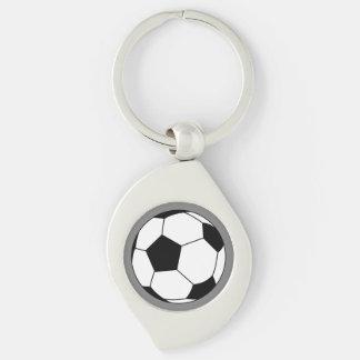 Bola negra/blanca del fútbol del fútbol en gris llavero plateado en forma de espiral