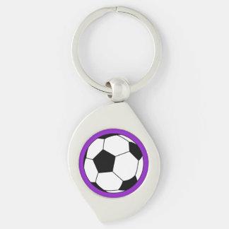 Bola negra/blanca del fútbol del fútbol en púrpura llavero plateado en forma de espiral