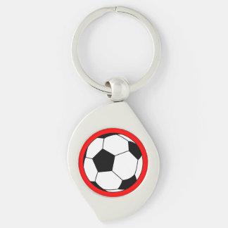 Bola negra/blanca del fútbol del fútbol en rojo llavero plateado en forma de espiral