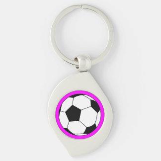 Bola negra/blanca del fútbol del fútbol en rosa llavero plateado en forma de espiral
