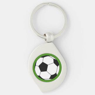 Bola negra/blanca del fútbol del fútbol en verde llavero plateado en forma de espiral