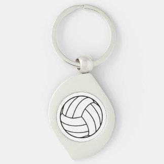 Bola negra/blanca del voleibol en blanco llavero plateado en forma de espiral