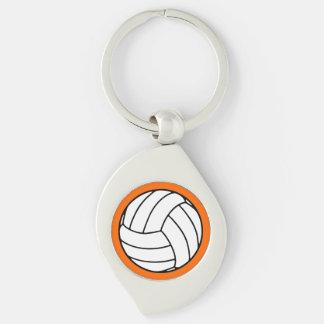Bola negra/blanca del voleibol en el naranja llavero plateado en forma de espiral