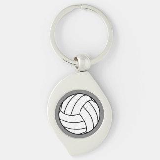 Bola negra/blanca del voleibol en gris llavero plateado en forma de espiral