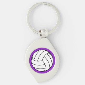 Bola negra/blanca del voleibol en púrpura llavero plateado en forma de espiral