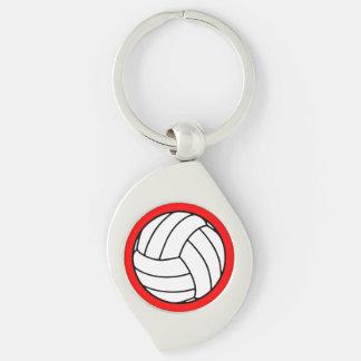 Bola negra/blanca del voleibol en rojo llavero plateado en forma de espiral