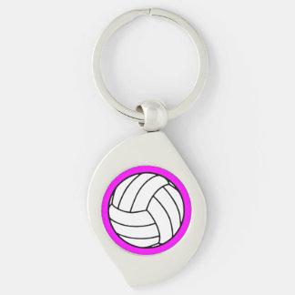 Bola negra/blanca del voleibol en rosa llavero plateado en forma de espiral