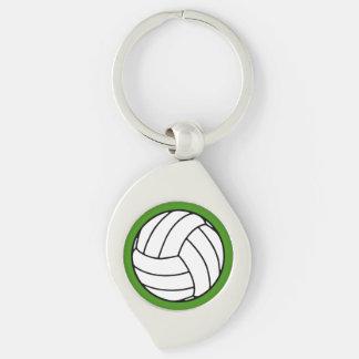 Bola negra/blanca del voleibol en verde llavero plateado en forma de espiral