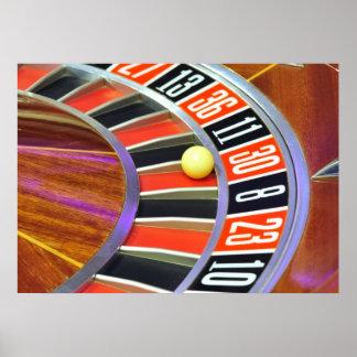 bola número 30 de la rueda de ruleta del casino qu póster