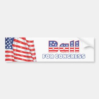 Bola para la bandera americana patriótica del cong pegatina de parachoque