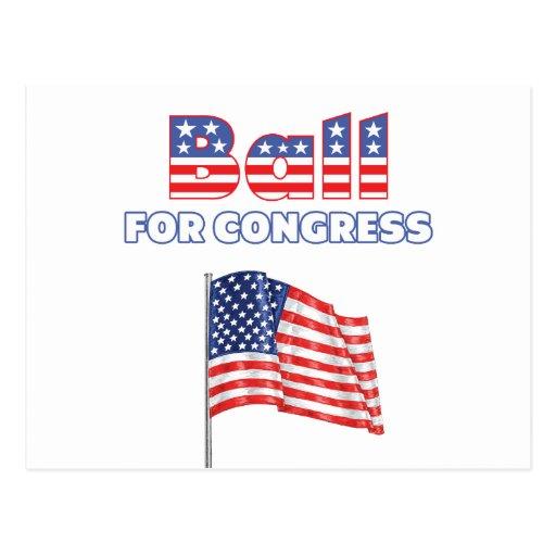 Bola para la bandera americana patriótica del postal