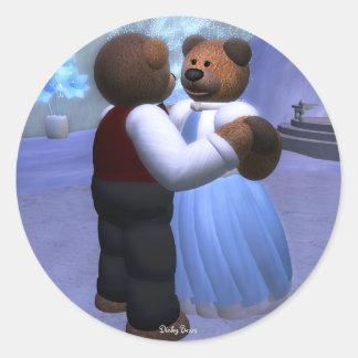 Bola pequeña del navidad de los osos pegatina redonda