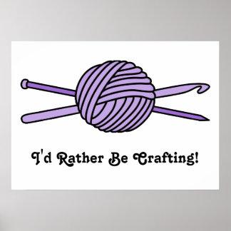 Bola púrpura del hilado (punto y ganchillo) póster