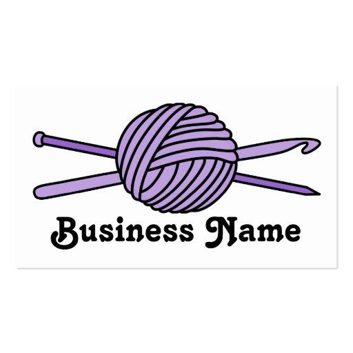 Bola púrpura del hilado (punto y ganchillo) tarjetas de visita