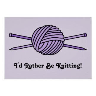 Bola púrpura del hilado y de las agujas que hacen  póster