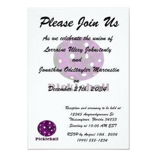 """bola púrpura nublada pickleball .png del texto n invitación 5"""" x 7"""""""