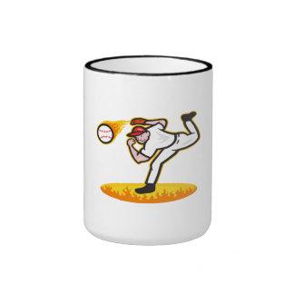 Bola que lanza de la jarra del béisbol en el fuego tazas