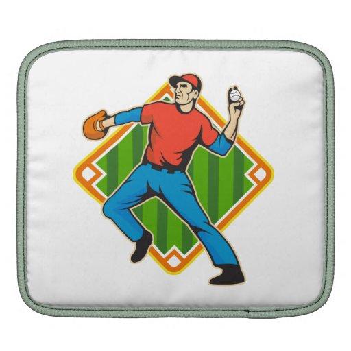 Bola que lanza de la jarra del jugador de béisbol manga de iPad