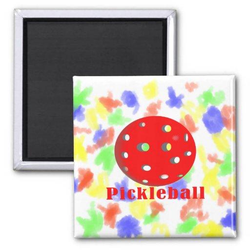 bola red.png del texto n del pickleball imanes de nevera