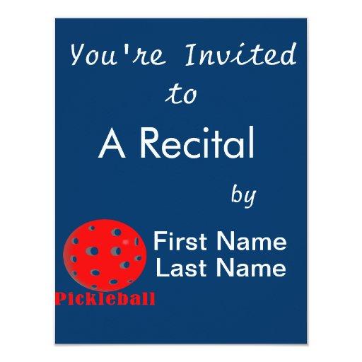 """bola red.png del texto n del pickleball invitación 4.25"""" x 5.5"""""""