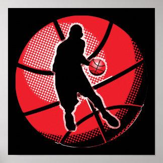 Bola retra del jugador de básquet póster