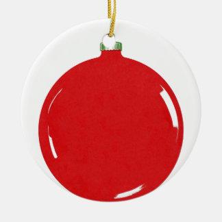 Bola retra del rojo del ornamento del navidad del adorno redondo de cerámica