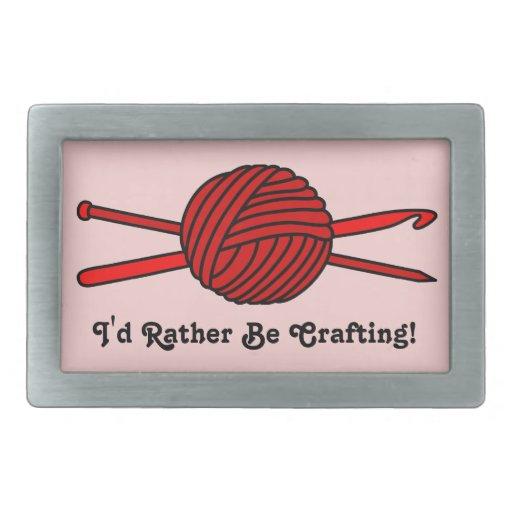 Bola roja del hilado (punto y ganchillo) hebillas de cinturon rectangulares