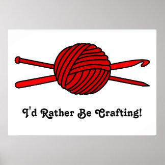 Bola roja del hilado (punto y ganchillo) póster