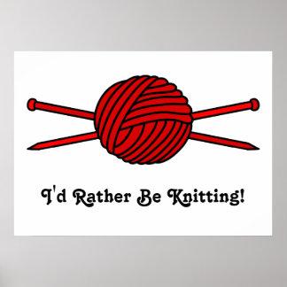 Bola roja del hilado y de las agujas que hacen pun póster