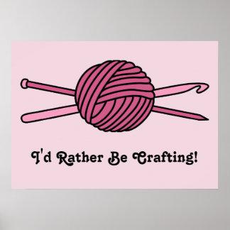 Bola rosada del hilado (punto y ganchillo) póster